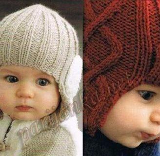como hacer gorros de lana con dos agujas para niños