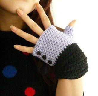 como hacer mitones a crochet sencillos para dama