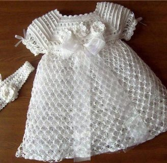 como hacer vestidos a crochet para niña recien nacida